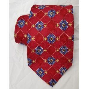 Robert Talbott Silk Tie Red Blue Gold USA